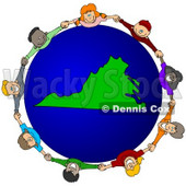 Royalty-Free (RF) Clipart Illustration of a Circle Of Children Holding Hands Around A Virginia Globe © djart #62098
