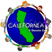 Royalty-Free (RF) Clipart Illustration of Children Holding Hands In A Circle Around A California Globe © djart #62099