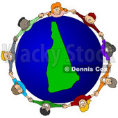 Royalty-Free (RF) Clipart Illustration of a Circle Of Children Holding Hands Around A New Hampshire Globe © djart #62100