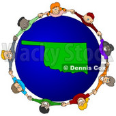 Royalty-Free (RF) Clipart Illustration of a Circle Of Children Holding Hands Around An Oklahoma Globe © djart #62101