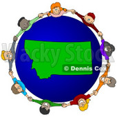 Royalty-Free (RF) Clipart Illustration of a Circle Of Children Holding Hands Around A Montana Globe © djart #62103