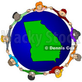 Royalty-Free (RF) Clipart Illustration of a Circle Of Children Holding Hands Around A Georgia Globe © Dennis Cox #62104