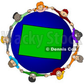 Royalty-Free (RF) Clipart Illustration of a Circle Of Children Holding Hands Around A Colorado Globe © djart #62105