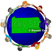 Royalty-Free (RF) Clipart Illustration of a Circle Of Children Holding Hands Around A Pennsylvania Globe © djart #62106