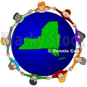 Royalty-Free (RF) Clipart Illustration of a Circle Of Children Holding Hands Around A New York Globe © djart #62107