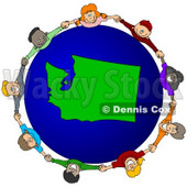 Royalty-Free (RF) Clipart Illustration of a Circle Of Children Holding Hands Around A Washington Globe © djart #62108
