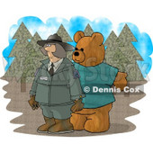 Person Wearing a Bear Costume While Trying to Scare a Female Forest Ranger Clipart Picture © Dennis Cox #6211