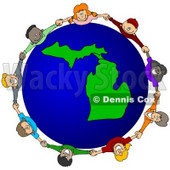 Royalty-Free (RF) Clipart Illustration of a Circle Of Children Holding Hands Around A Michigan Globe © djart #62110
