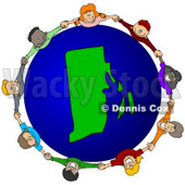 Royalty-Free (RF) Clipart Illustration of a Circle Of Children Holding Hands Around A Rhode Island Globe © djart #62112
