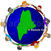 Royalty-Free (RF) Clipart Illustration of a Circle Of Children Holding Hands Around A Maine Globe © djart #62113