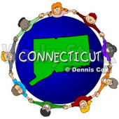 Royalty-Free (RF) Clipart Illustration of Children Holding Hands In A Circle Around A Connecticut Globe © djart #62114