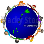 Royalty-Free (RF) Clipart Illustration of a Circle Of Children Holding Hands Around A Hawaii Globe © djart #62115