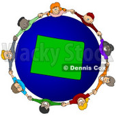 Royalty-Free (RF) Clipart Illustration of a Circle Of Children Holding Hands Around A Wyoming Globe © djart #62116