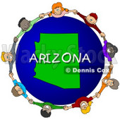 Royalty-Free (RF) Clipart Illustration of Children Holding Hands In A Circle Around An Arizona Globe © djart #62117
