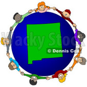 Royalty-Free (RF) Clipart Illustration of a Circle Of Children Holding Hands Around A New Mexico Globe © djart #62119