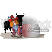 Unaware Rodeo Clown with His Back Facing a Dangerous Bull Clipart Picture © Dennis Cox #6212