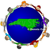 Royalty-Free (RF) Clipart Illustration of a Circle Of Children Holding Hands Around A North Carolina Globe © djart #62120