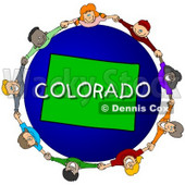 Royalty-Free (RF) Clipart Illustration of Children Holding Hands In A Circle Around A Colorado Globe © djart #62121