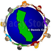 Royalty-Free (RF) Clipart Illustration of a Circle Of Children Holding Hands Around A California Globe © djart #62122