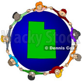 Royalty-Free (RF) Clipart Illustration of a Circle Of Children Holding Hands Around A Utah Globe © djart #62123