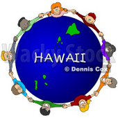 Royalty-Free (RF) Clipart Illustration of Children Holding Hands In A Circle Around A Hawaii Globe © djart #62124