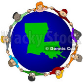 Royalty-Free (RF) Clipart Illustration of a Circle Of Children Holding Hands Around A Louisiana Globe © djart #62125