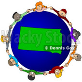 Royalty-Free (RF) Clipart Illustration of a Circle Of Children Holding Hands Around A South Dakota Globe © djart #62127