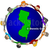 Royalty-Free (RF) Clipart Illustration of a Circle Of Children Holding Hands Around A New Jersey Globe © djart #62129