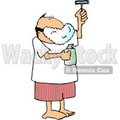 Man Shaving His Face with a Razor Clipart Picture © Dennis Cox #6213