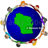Royalty-Free (RF) Clipart Illustration of a Circle Of Children Holding Hands Around A Wisconsin Globe © djart #62131