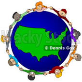 Royalty-Free (RF) Clipart Illustration of a Circle Of Children Holding Hands Around A USA Globe © Dennis Cox #62132