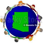 Royalty-Free (RF) Clipart Illustration of a Circle Of Children Holding Hands Around An Arizona Globe © djart #62133