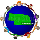 Royalty-Free (RF) Clipart Illustration of a Circle Of Children Holding Hands Around A Nebraska Globe © djart #62135