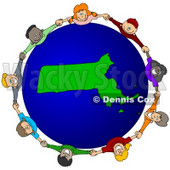 Royalty-Free (RF) Clipart Illustration of a Circle Of Children Holding Hands Around A Massachusetts Globe © djart #62136