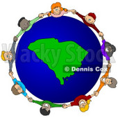 Royalty-Free (RF) Clipart Illustration of a Circle Of Children Holding Hands Around A South Carolina Globe © djart #62137