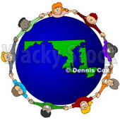 Royalty-Free (RF) Clipart Illustration of a Circle Of Children Holding Hands Around A Maryland Globe © Dennis Cox #62138
