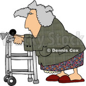Senior Woman Using a Walker With a Horn Attached Clipart Picture © djart #6217