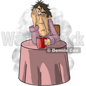 Man Just Waking Up, In Need of a Hot Cup of Coffee Clipart Picture © Dennis Cox #6219