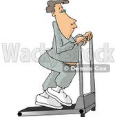 Man in Sweats Exercising on a Treadmill in a Gym Clipart Picture © djart #6220