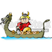 Viking Boy Traveling in a Dragon Boat While Armed with a Sword Clipart Picture © Dennis Cox #6223