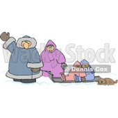 Winter Family Traveling with Their Pet Dog Clipart Picture © Dennis Cox #6224