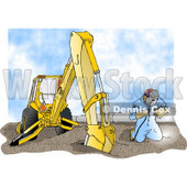 Man Welding On a Metal Pipeline Line Beside a Construction Tractor Clipart Picture © djart #6226