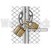 Padlocked Chain Link Fence Gate Clipart Picture © Dennis Cox #6228