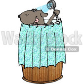 Anthropomorphic Dog Showering Clipart Picture © Dennis Cox #6233