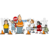 Crosswalk Crossing Guard Man With a Stop Sign, Directing School Children and a Dog to Cross the Street Clipart Picture © djart #6235