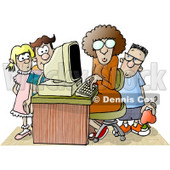 Female Teacher Sitting at a Computer, Surrounded by School Kids in a Classroom Clipart Picture © Dennis Cox #6236