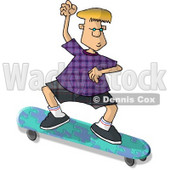 Blond Boy on a Skateboard That Has a Puzzle Pattern Clipart Picture © djart #6241