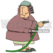 Woman in a Robe With Hair in Curlers, Using a Garden Hose to Water Clipart Picture © djart #6244