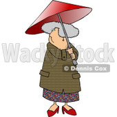 Gray Haired Senior Woman Walking With an Umbrella on a Rainy Day Clipart Picture © djart #6245