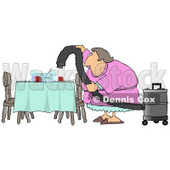 Lazy House Wife Using a Vacuum To Suck Everything Off the Dinner Table so She Doesn't Have to Clean Clipart Picture © djart #6246